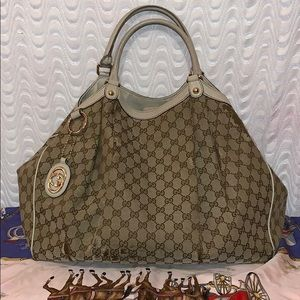 Authentic GUCCI Sukey GG Brown/Ivory Large Bag